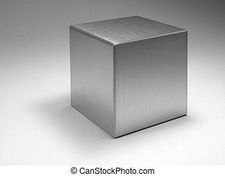 vast lichaam, kubus, metalen