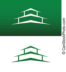 vast lichaam, woning, abstract, vector, omgekeerde, pictogram