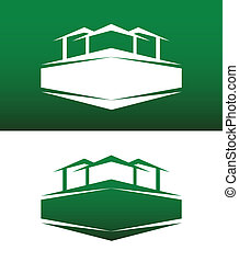 vast lichaam, woning, abstract, vector, spandoek, omgekeerde, pictogram