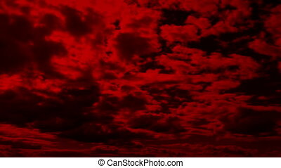 Vast Red Cloudscape - Dramatic red sky with clouds moving...