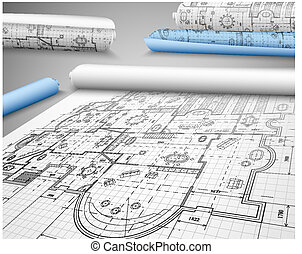 Architectural project on paper. Eps 10