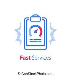 vasten, diensten, oplossing, opleiding, snelheidsmeter, cursus, snel, klembord