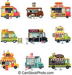 vasten, dog, vector, hamburger, straat, ijs, beweeglijk, hamburgers, pizza, vrachtwagens, illustratie, taco, verzameling, voedingsmiddelen, room, maaltijd, warme, voertuigen, aflevering, koffie, winkels