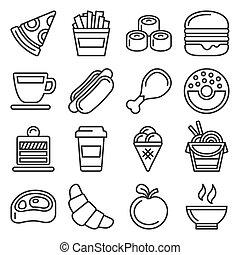 vasten, lijn, witte , iconen, vector, set, stijl, voedingsmiddelen, achtergrond.