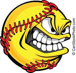 vasten, pek, softbal, gezicht, spotprent, bal, vector, beeld
