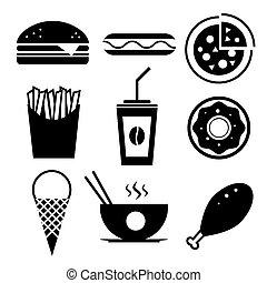 vasten, room, chinees, koffie, voedingsmiddelen, set., ijs, vector, hamburger, pictogram