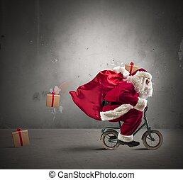 vasten, santa claus, op, de, fiets