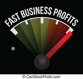 vasten, snelheidsmeter, zakelijk, winsten