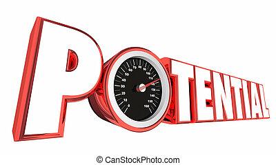 vasten, succes, mogelijkheid, potentieel, groei, illustratie, snelheidsmeter, 3d
