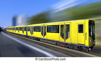vasten, trein, met, beweging onduidelijke plek