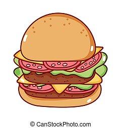 vasten, vrijstaand, pictogram, voedingsmiddelen, spotprent, smakelijk, hamburger