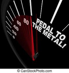 vaster, metaal, -, bereiken, pedaal, snelheidsmeter, doel