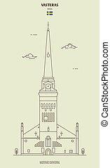 vasteras, punkt orientacyjny, katedra, sweden., ikona
