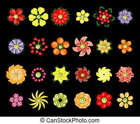 vastgesteld ontwerp, bloem, gemaakt, vruchten
