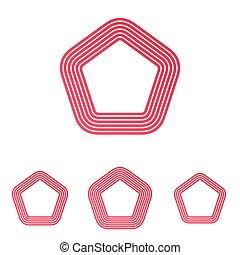 vastgesteld ontwerp, karmozijnrood, logo, lijn, pentagoon