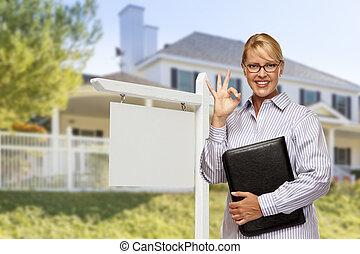 vastgoed agent, voor, leeg teken, en, woning