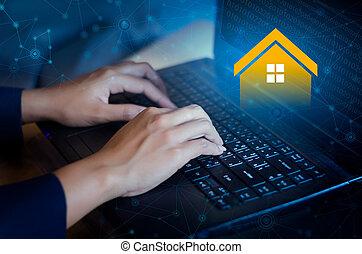 vastgoed, agentschap, computer, online, toetsenbord