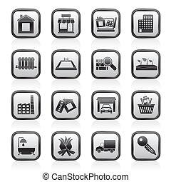 vastgoed, en, gebouw, iconen