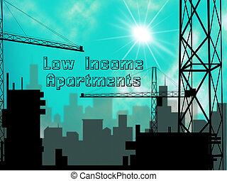 vastgoed, flats, rijtjeshuizen, rijzen, -, illustratie, hoog, laag, demonstreren, inkomen, cityscape, 3d