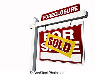 vastgoed, foreclosure, sold tekenen, wit rood