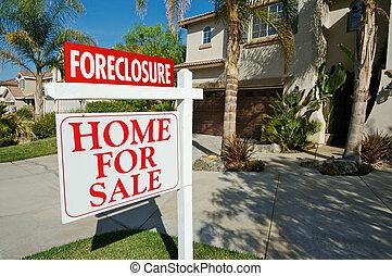 vastgoed, foreclosure, woning, verkoop teken