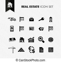 vastgoed, fris, pictogram, set.