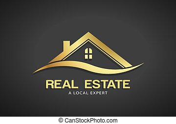 vastgoed, goud, vector, mal, logo