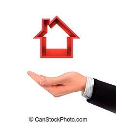 vastgoed, hand houdend, 3d, pictogram