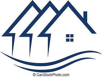vastgoed, huisen, logo, vector