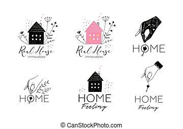 vastgoed, huisvesting, logotype, verzameling, ontwerp