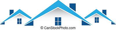 vastgoed, kaart, logo, vector