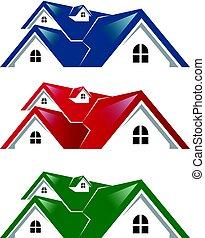 vastgoed, logo, woning, vector