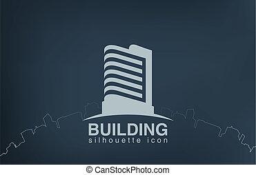 vastgoed, logotype., moderne, wolkenkrabber, logo, de bouw.