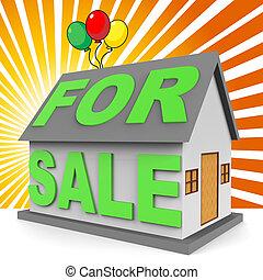 vastgoed, middelen, woning, verkoop, vertolking, 3d