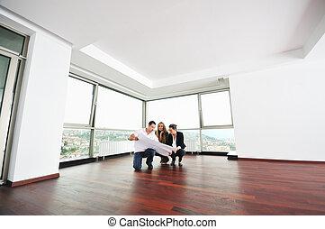 vastgoed, paar, jonge, agent, thuis, nieuw, aankoop,...