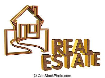 vastgoed, symbool, logo, 3d
