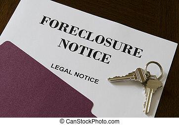 vastgoed, thuis, foreclosure, wettelijk, kennisgeving, en,...