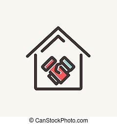 vastgoed, transacties, succesvolle , dune lijn, pictogram