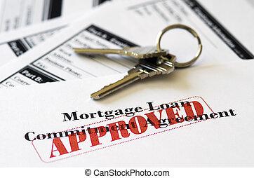 vastgoed, verhypothekeer lening, document, goedgekeurd