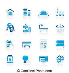 vastgoed, voorwerpen, en, iconen