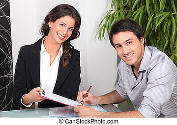 vastgoed, woning, jonge, agent, vrouwlijk, aankoop, man