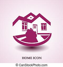 vastgoed, woning, symbool, moderne, silhouette, vector, ...
