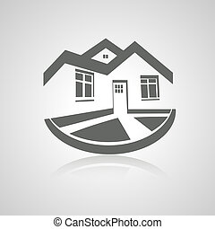 vastgoed, woning, symbool, moderne, silhouette, vector,...