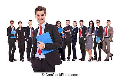 vasthouden, achter, zakelijk, leider, klembord, team