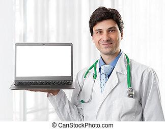 vasthouden, arts, scherm, leeg, draagbare computer
