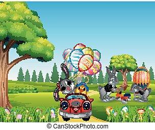 vasthouden, auto, konijn, kuiken, paardrijden, verfraaide, vrolijke , ballons, pasen
