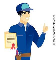 vasthouden, aziaat, certificaat., werktuigkundige, jonge