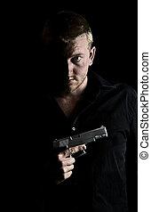 vasthouden, borst, mannelijke , geweer, zijn, intimidating