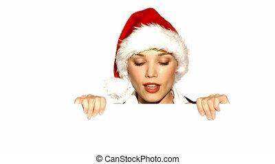 vasthouden, claus, plank, kerstman, meisje, hoedje, lege
