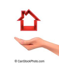 vasthouden, echte, pictogram, hand, 3d, landgoed